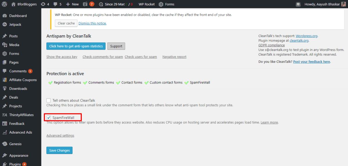 CleanTalk-firewall-settings