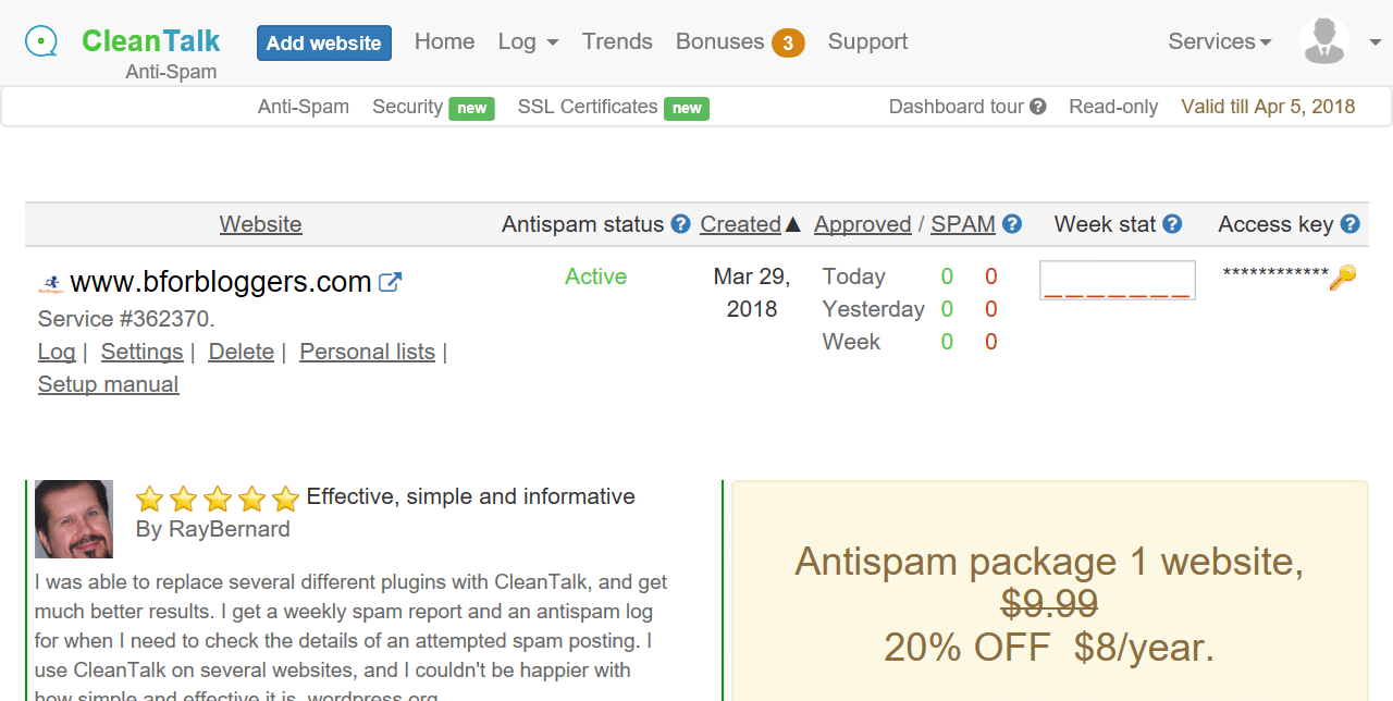 "CleanTalk Review : How To Setup The ""Overall"" Anti-spam Plugin REVIEWS  plugins"