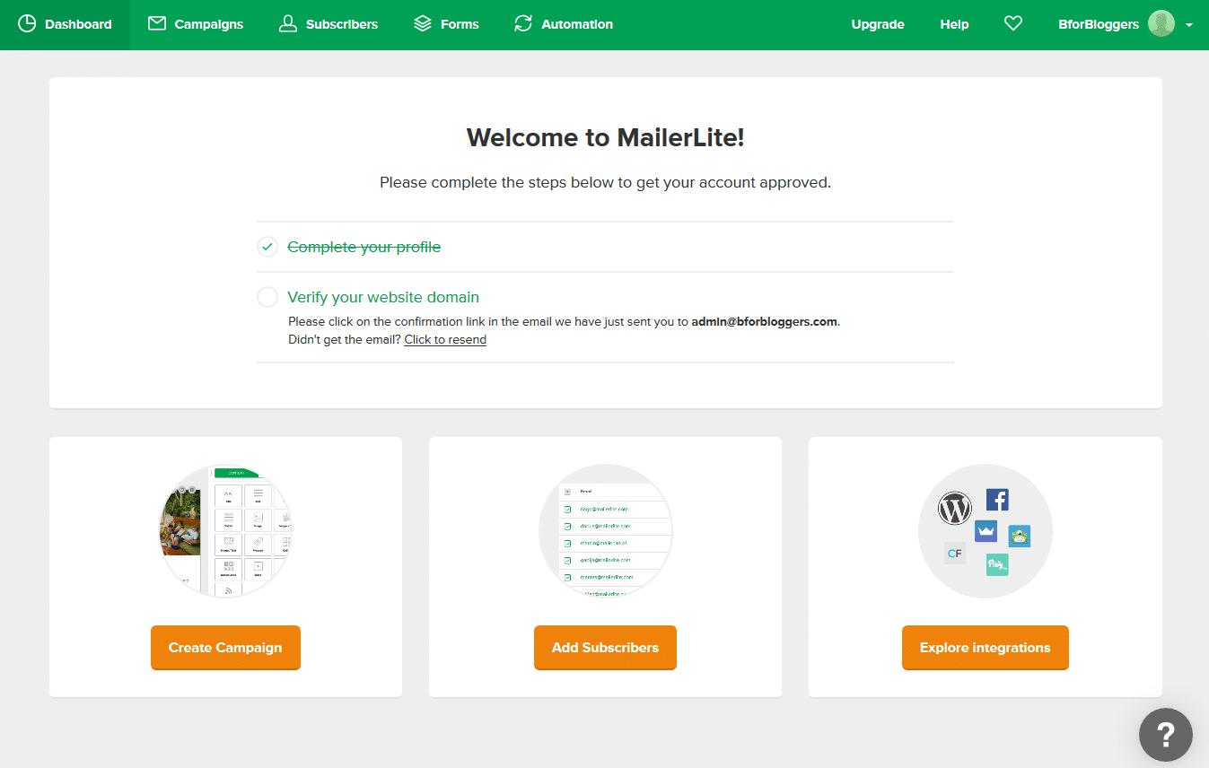 dashboard mailerlite
