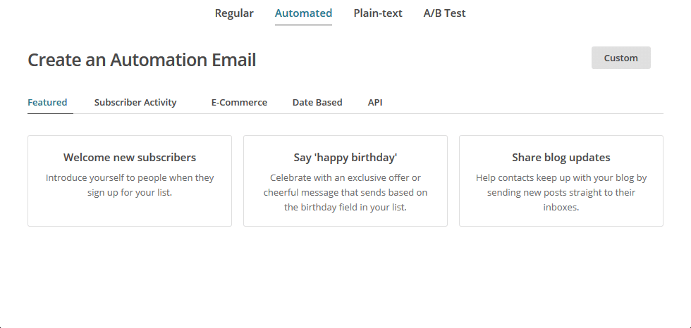select automated in mailchimp popup