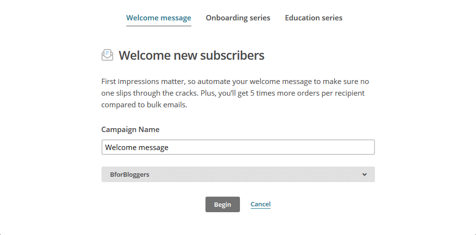 select the email type as welcome message autoresponder