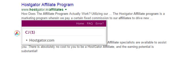 result of Affilitizer for a keyword