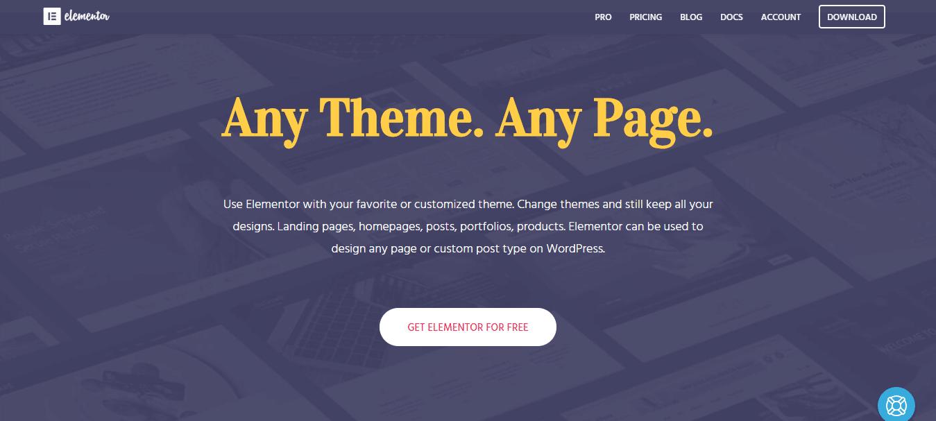 Elementor page builder plugin for faster blocks publishing