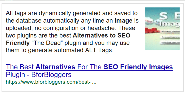 featured snippet in google of my posts