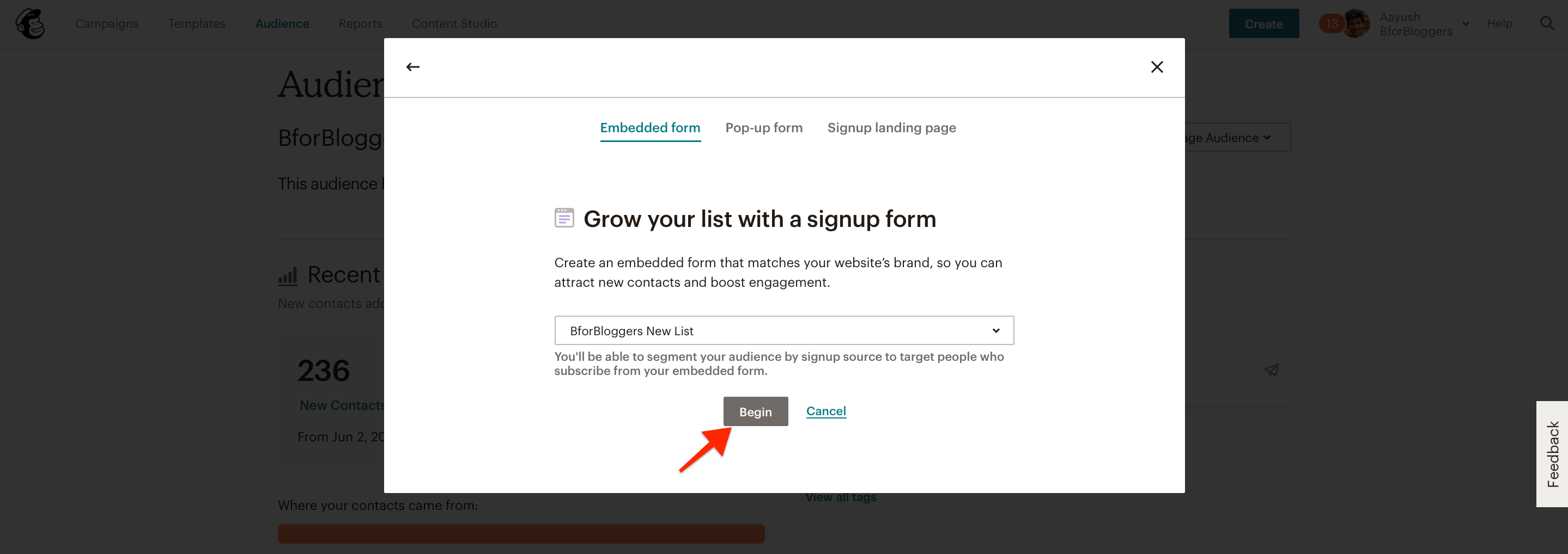 click-on-begin-for-optin-forms
