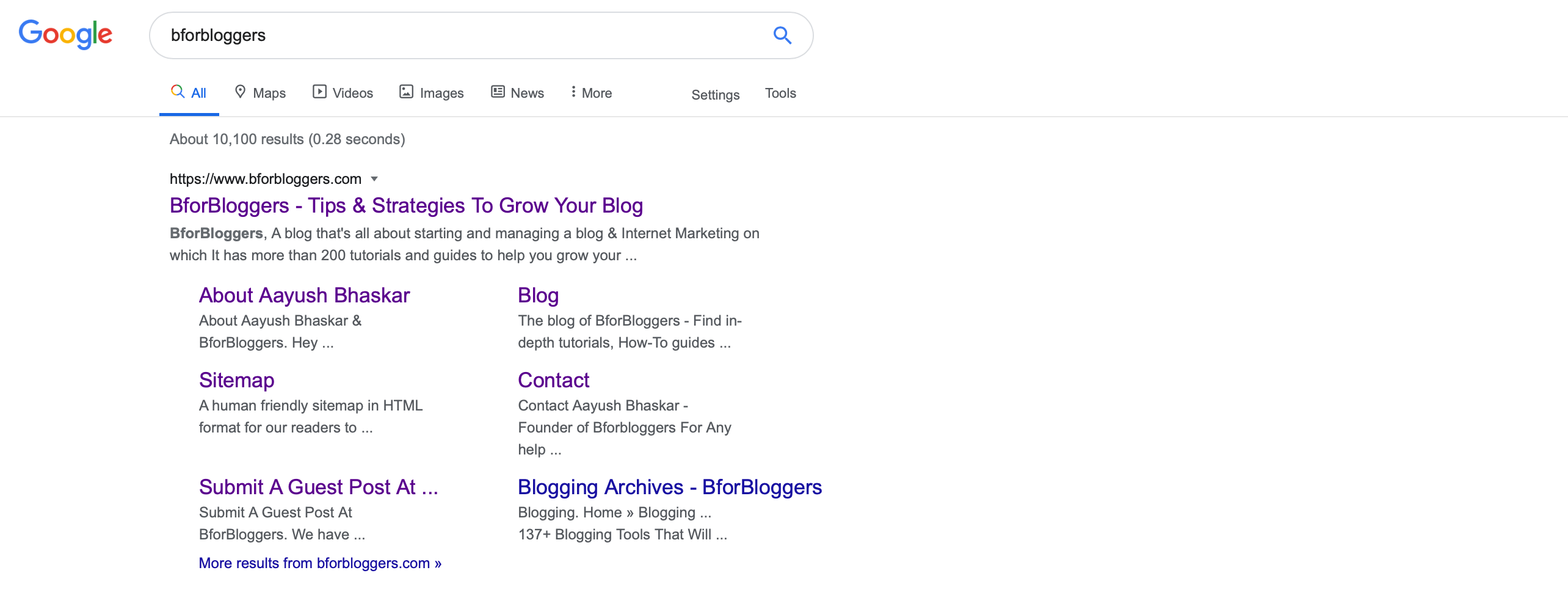 Searching-for-bforbloggers-on-google-and-sitelinks-appear