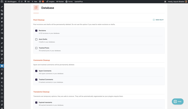 wp-rocket-database-optimization-settings-correct-options