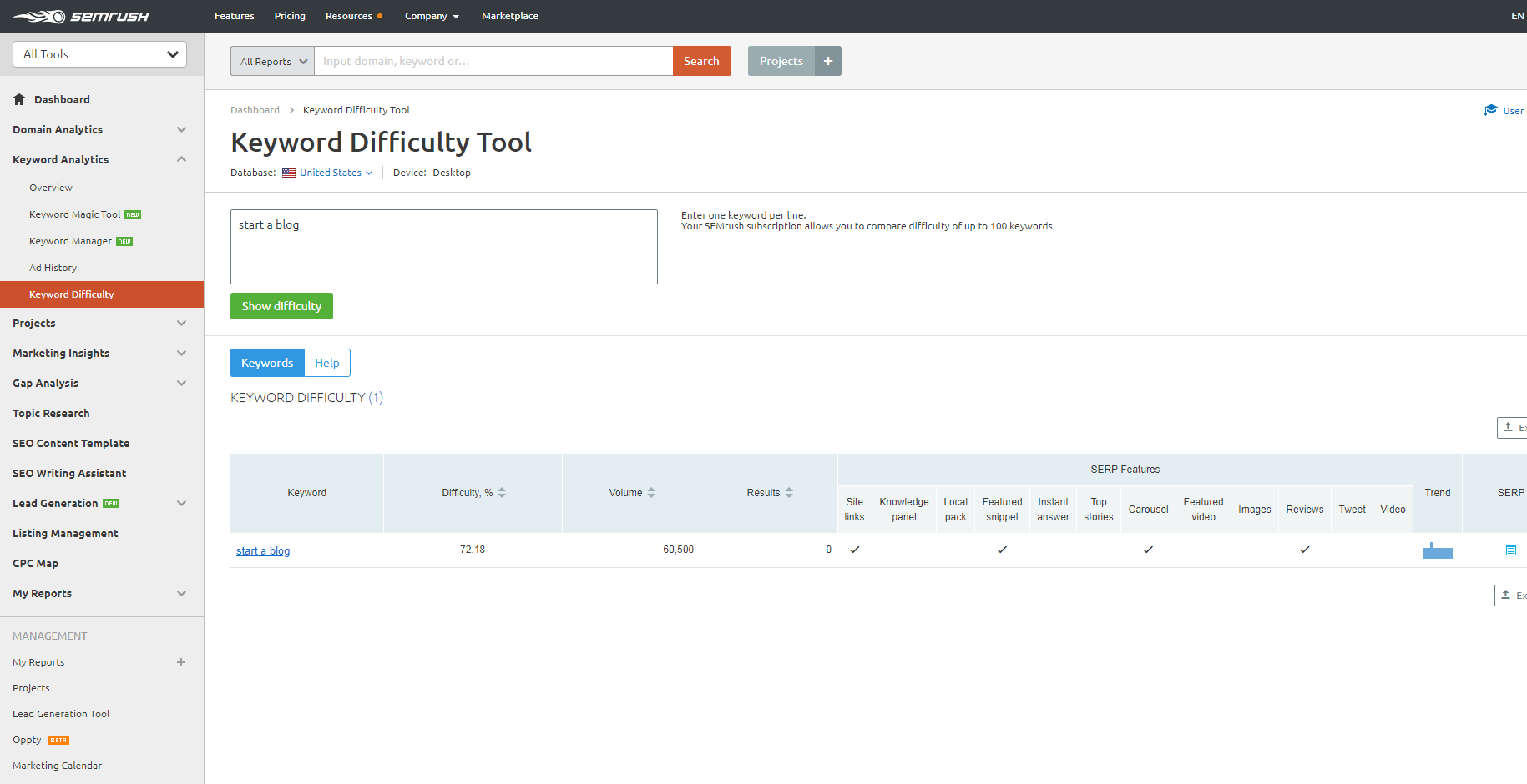 keyword-dificuly-tool-semrush