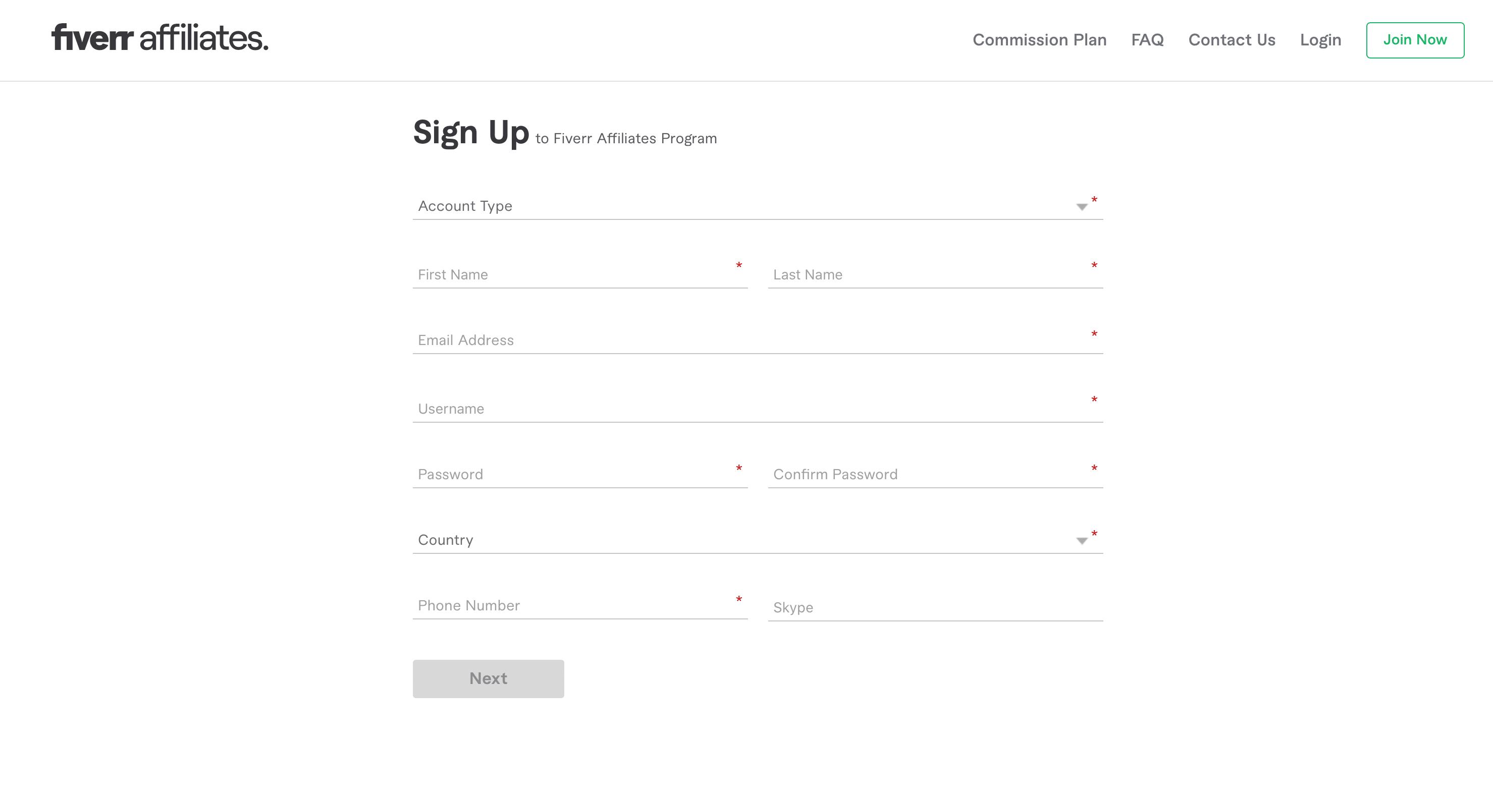 Fiverr-affiliates-signup-page