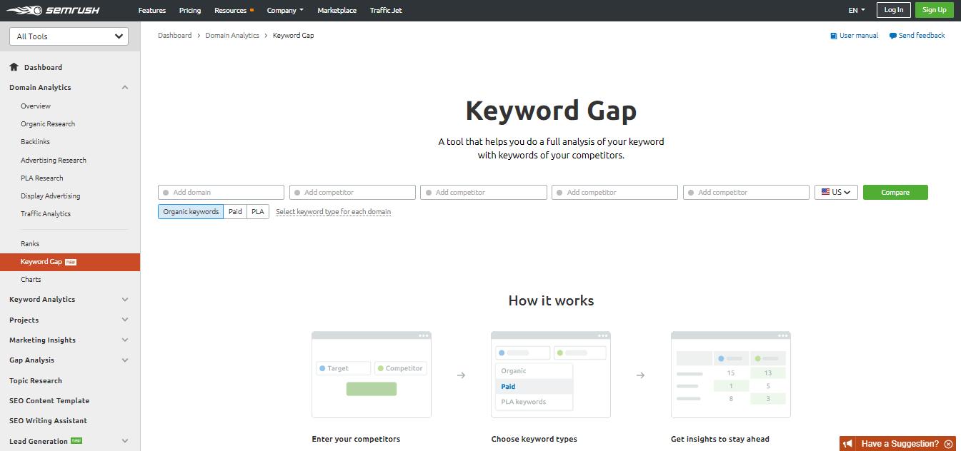 SEMRush-Keyword-Gap-Tool