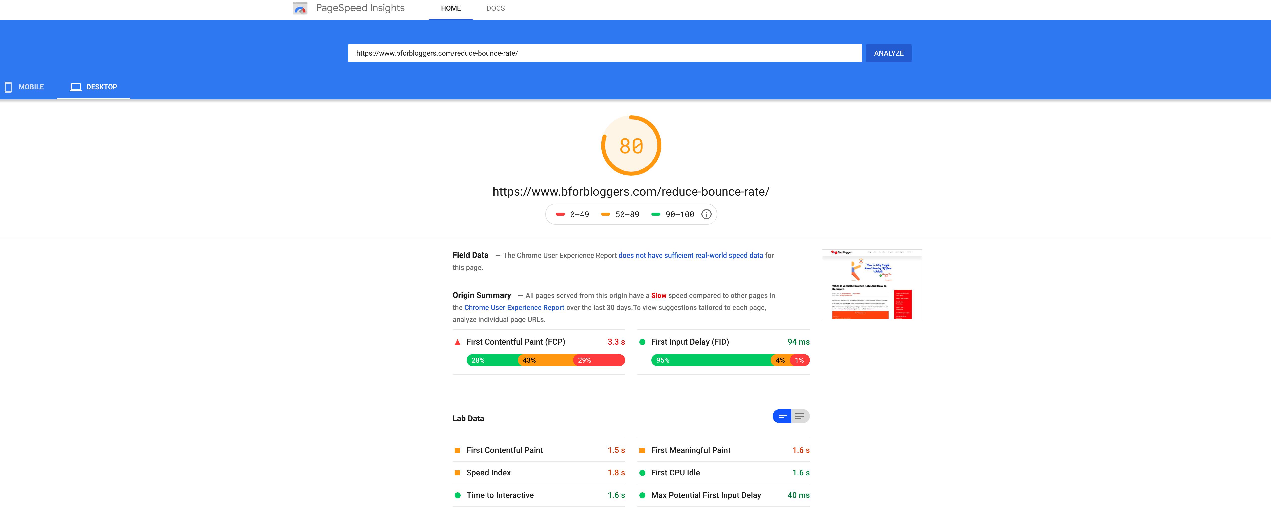 bforbloggers.com-page-speed-test-on-google-pagespeedinsights
