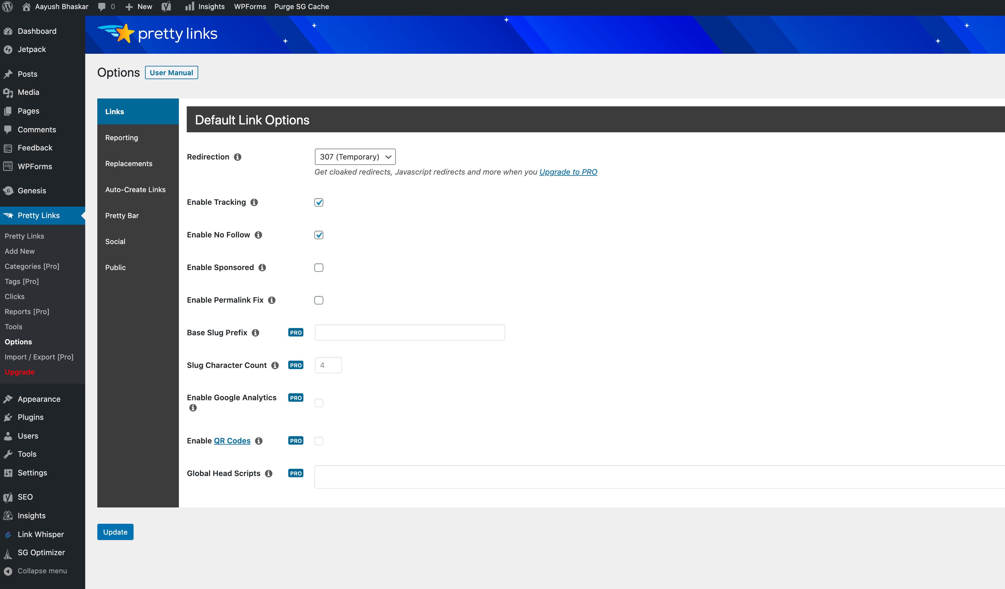 pretty-links-default-settings