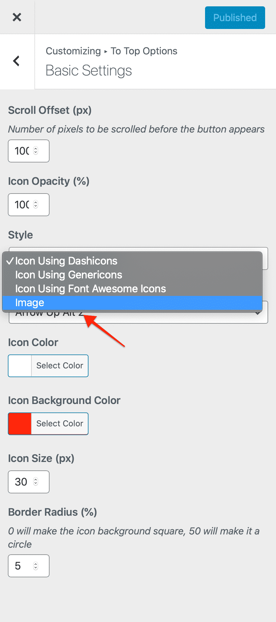 select-image-from-the-style-drop-down-menu