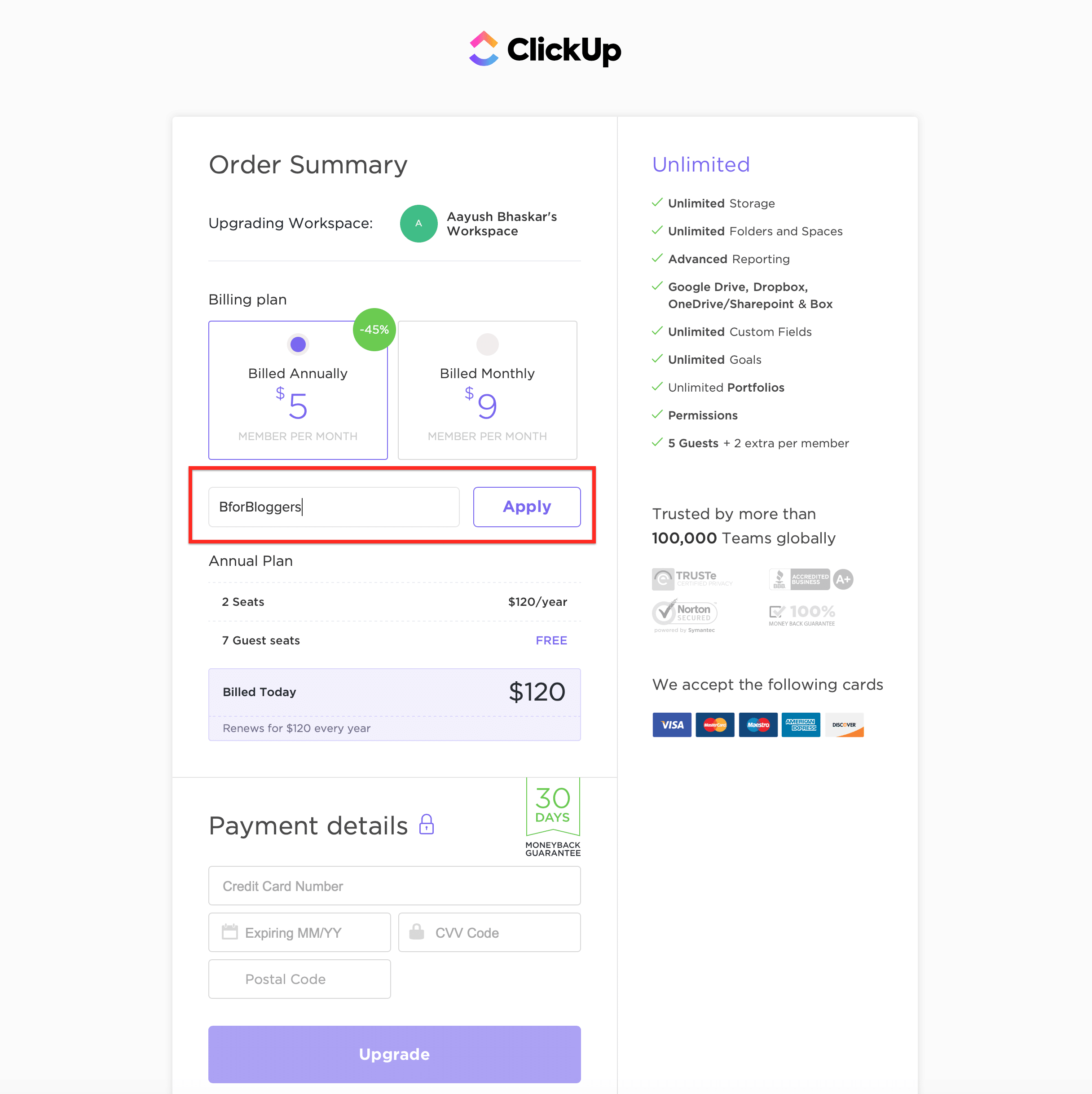 clickup-checkout-page-discount-applied