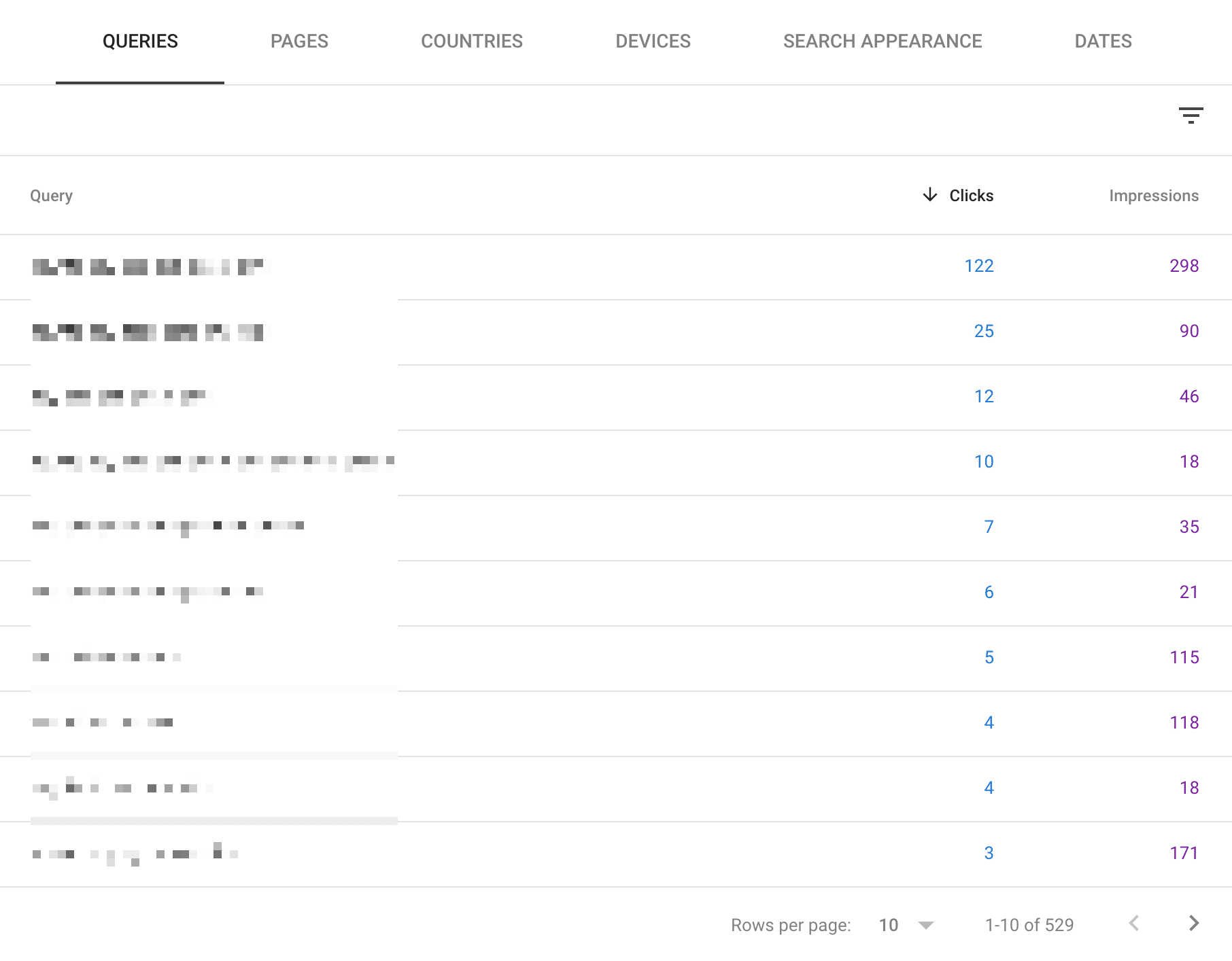 google-search-console-queries-report-filter