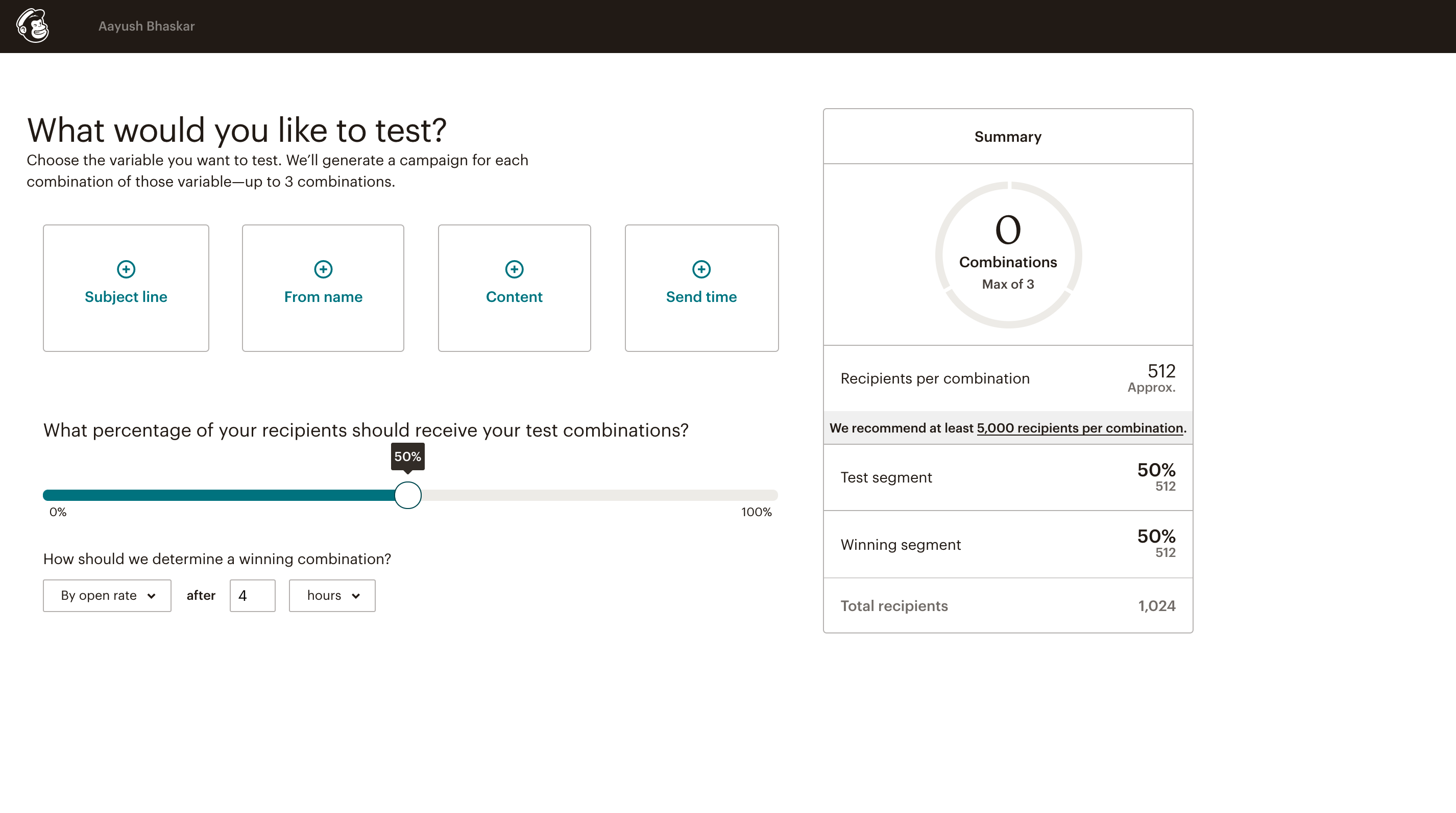 Mailchimp AB testing 1