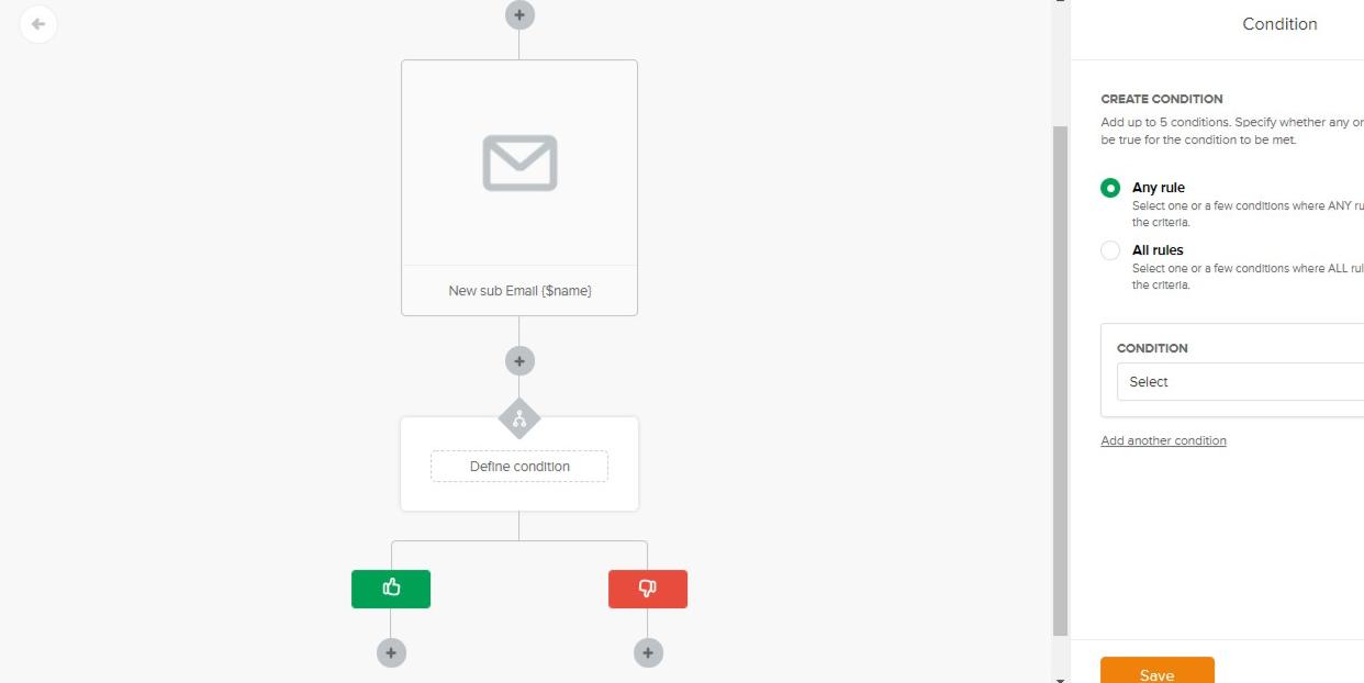 Mailerlite automation screen