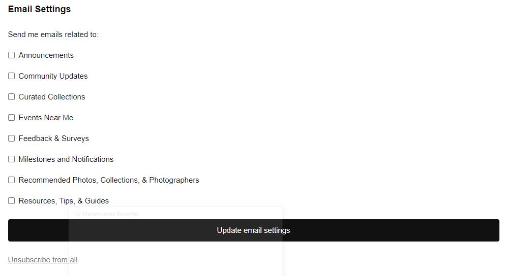Unsplash unsubscribe page