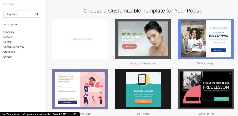 Pop up templates