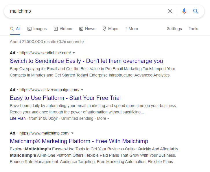 Steal search traffic from your competition like Sendinblue and Active Campaign do with Mailchimp