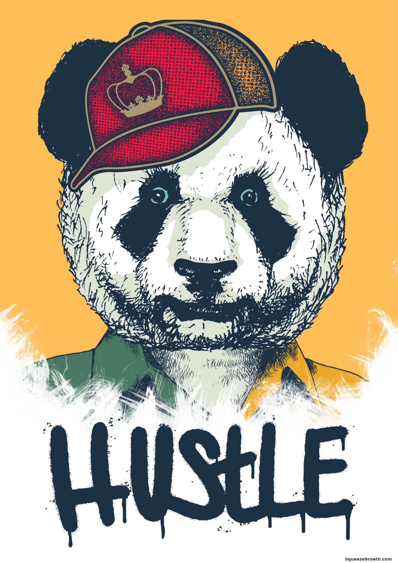 Copy of Copy of Happy Coloured Hustle Panda white background large wording