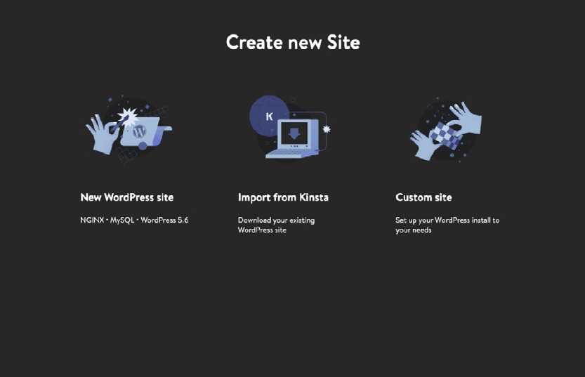 DevKinsta Create new site